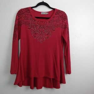 UNITY Thermal top shirt blouse Red/Burgundy Size M